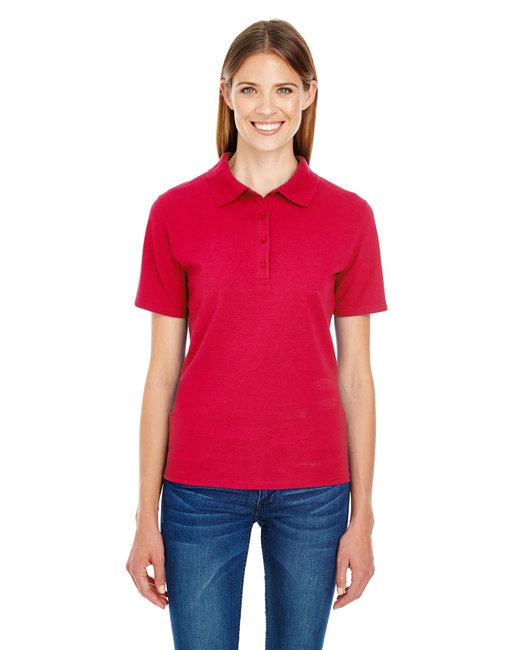 Hanes Ladies' 6.5 oz. X-Temp® Piqué Short-Sleeve Polo with Fresh IQ - Deep Red