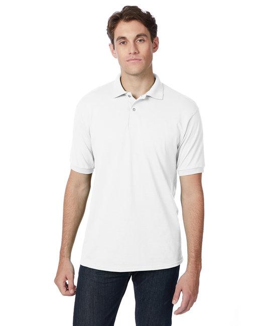 Hanes Adult 5.2 oz., 50/50 EcoSmart® Jersey Knit Polo - White