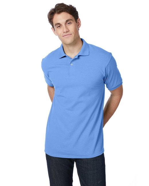 Hanes Adult 5.2 oz., 50/50 EcoSmart® Jersey Knit Polo - Carolina Blue