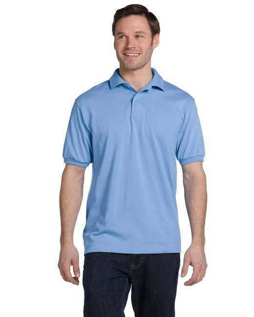 Hanes Adult 5.2 oz., 50/50 EcoSmart® Jersey Knit Polo - Light Blue