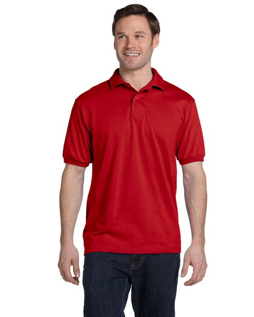 Hanes Adult 5.2 oz., 50/50 EcoSmart® Jersey Knit Polo - Deep Red