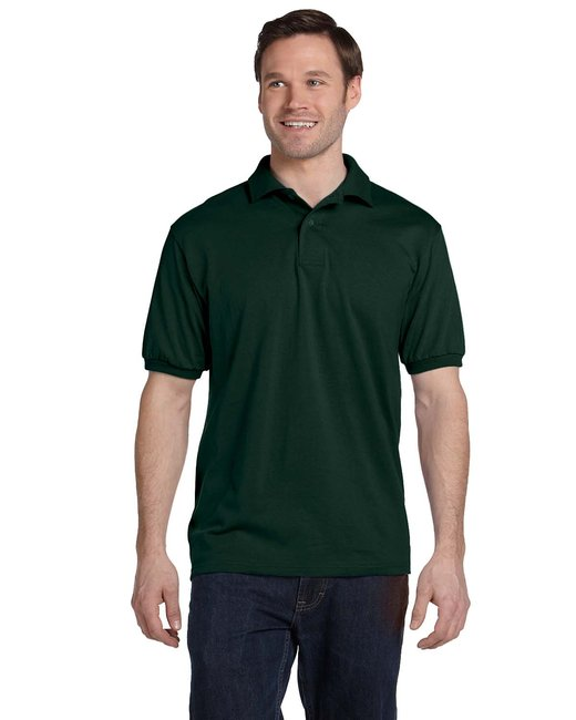 Hanes Adult 5.2 oz., 50/50 EcoSmart® Jersey Knit Polo - Deep Forest