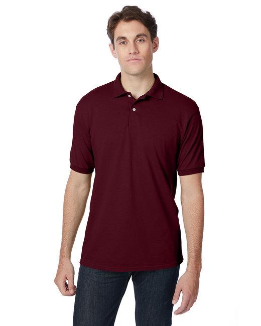 Hanes Adult 5.2 oz., 50/50 EcoSmart® Jersey Knit Polo - Maroon