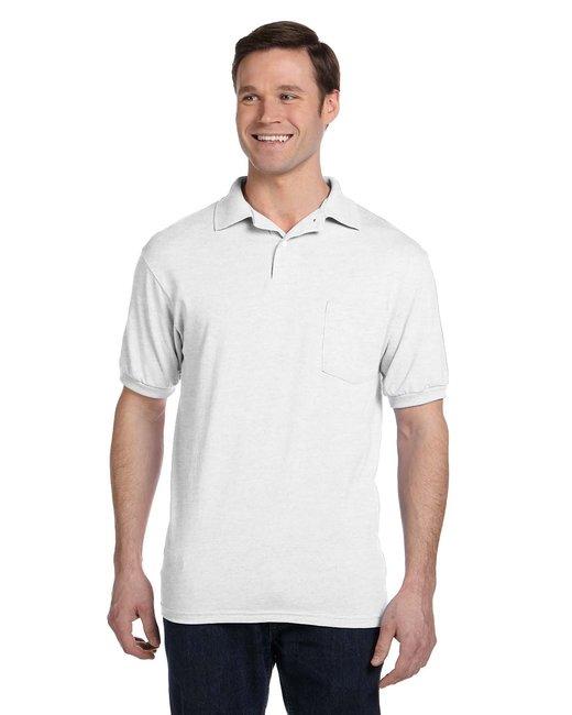 Hanes Adult 5.2 oz., 50/50 EcoSmart® Jersey Pocket Polo - White