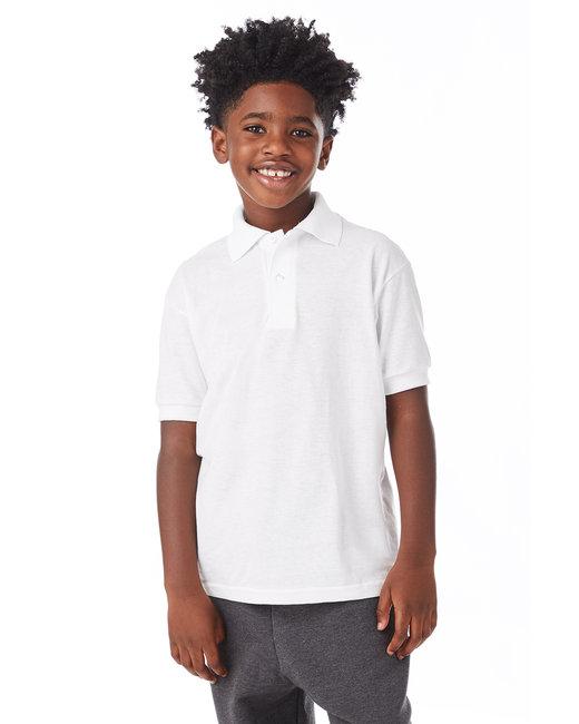 Hanes Youth 5.2 oz., 50/50 EcoSmart® Jersey Knit Polo - White