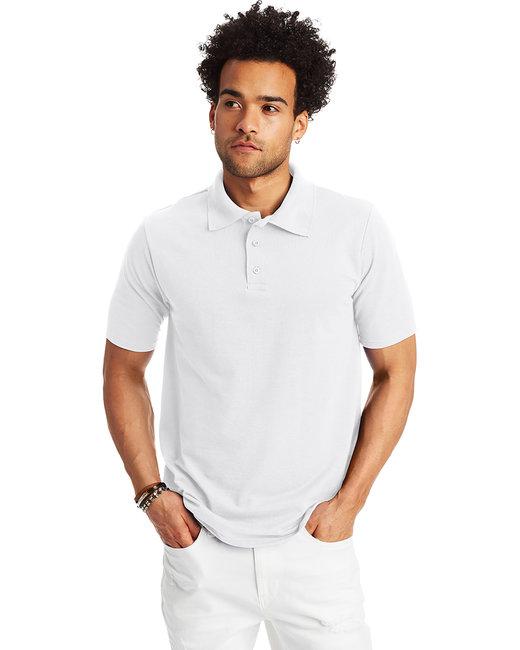 Hanes Men's 6.5 oz. X-Temp® Piqué Short-Sleeve Polo with Fresh IQ - White