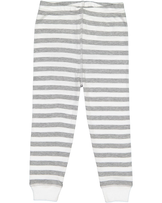 Rabbit Skins Infant Baby Rib Pajama Pant - Hth Wht Str/ Wht
