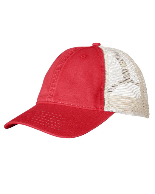 Comfort Colors Unstructured Trucker Cap - Red/ Ivory