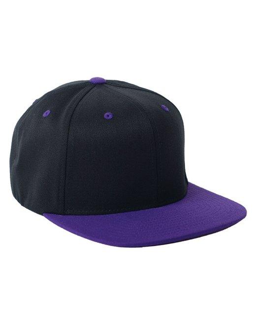 Flexfit Adult Wool Blend Snapback Two-Tone Cap - Black/ Purple
