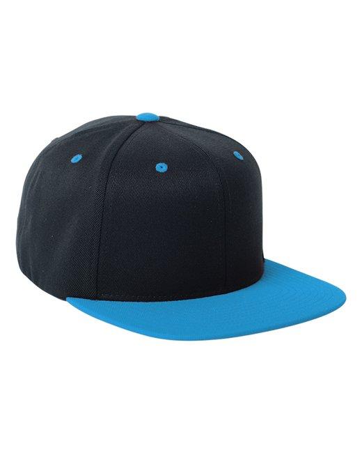 Flexfit Adult Wool Blend Snapback Two-Tone Cap - Black/ Teal