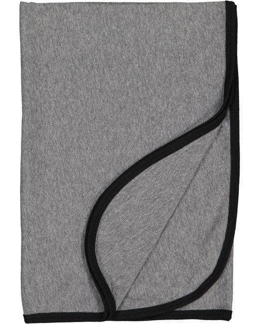 Rabbit Skins Infant Premium Jersey Blanket - Granite Hth/ Blk