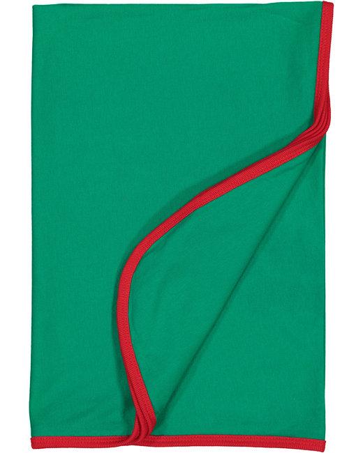 Rabbit Skins Infant Premium Jersey Blanket - Kelly/ Red