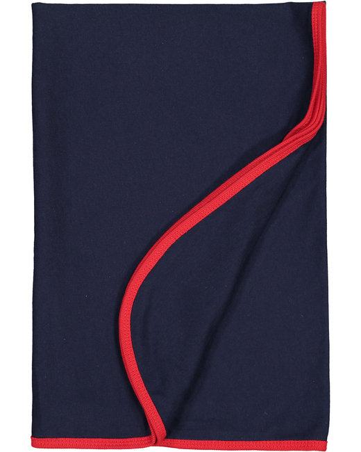 Rabbit Skins Infant Premium Jersey Blanket - Navy/ Red