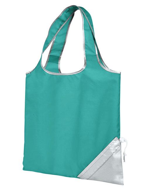 Gemline Latitiudes Foldaway Shopper Tote - Turquoise/ Silvr