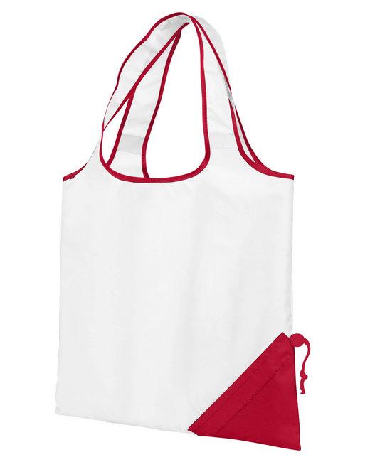 Gemline Latitiudes Foldaway Shopper Tote - White/ Red