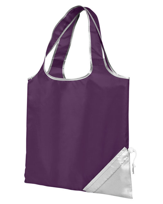 Gemline Latitiudes Foldaway Shopper Tote - Plum/ Silver