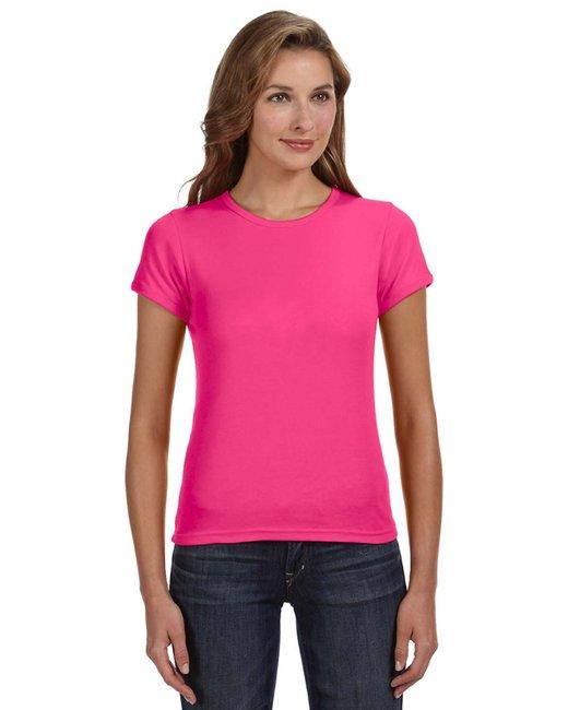 Anvil Ladies' 1x1 Baby Rib Scoop T-Shirt - Hot Pink