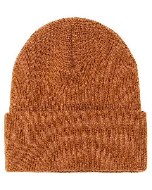 Yupoong Adult Cuffed Knit Beanie - Caramel