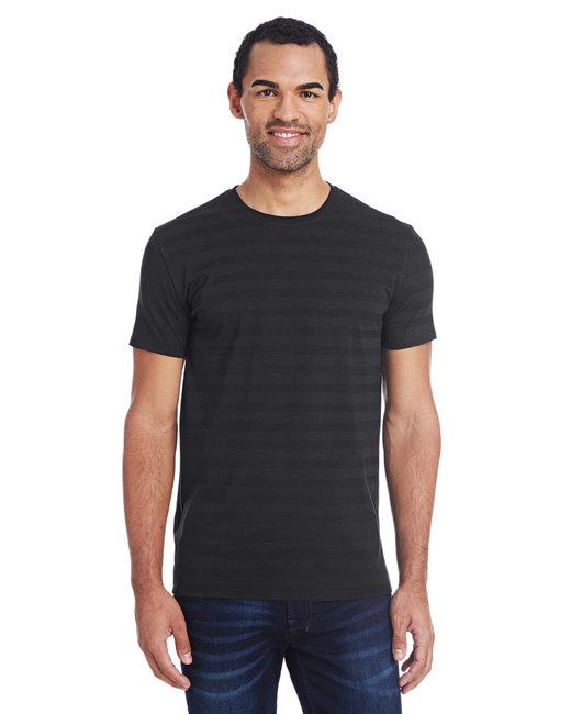 Threadfast Apparel Men's Invisible Stripe Short-Sleeve T-Shirt - Blck Invsbl Strp