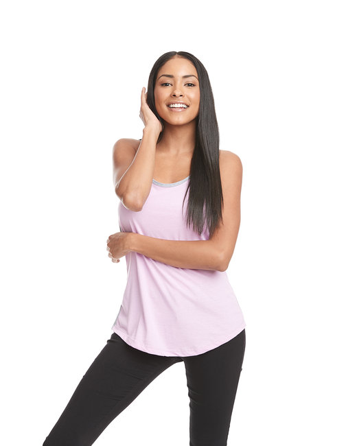 Next Level Ladies' Ideal Colorblock Racerback Tank - Lilac/ Hthr Gray