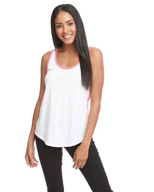 Next Level Ladies' Ideal Colorblock Racerback Tank - White/ Hot Pink