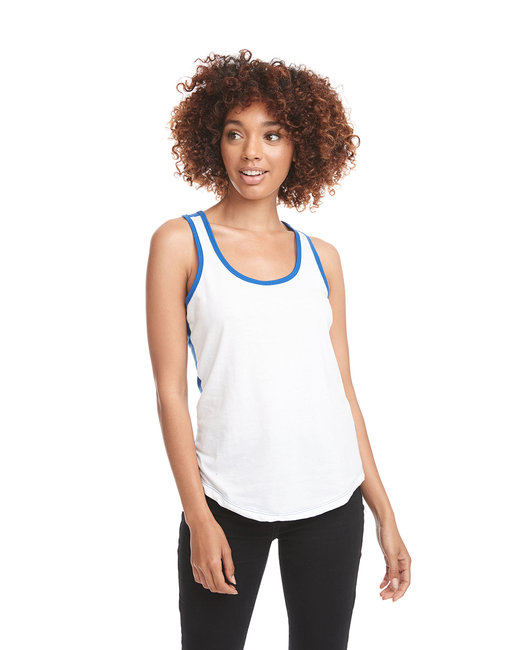 Next Level Ladies' Ideal Colorblock Racerback Tank - White/ Royal