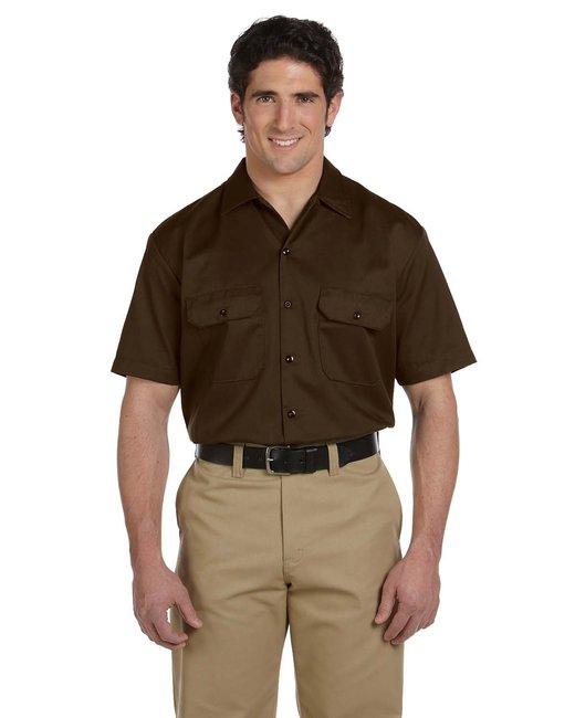 Dickies Men's 5.25 oz./yd² Short-Sleeve WorkShirt - Dark Brown