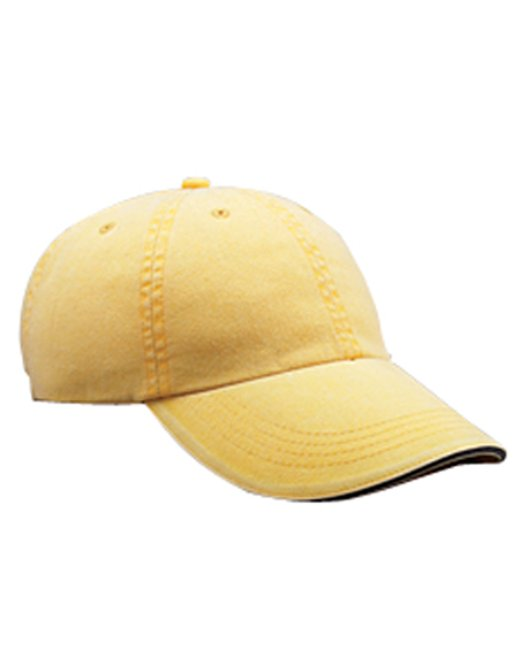 Anvil Adult Solid Low-Profile Sandwich Trim Twill Cap - Sunshine