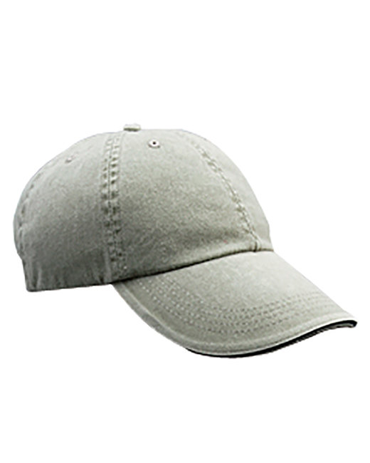 Anvil Adult Solid Low-Profile Sandwich Trim Twill Cap - Taupe