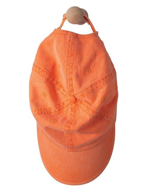 Anvil Adult Solid Low-Profile Sandwich Trim Twill Cap - Tangerine