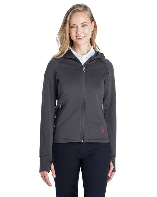Spyder Ladies' Hayer Full-Zip Hooded Fleece Jacket - Polar/ Red