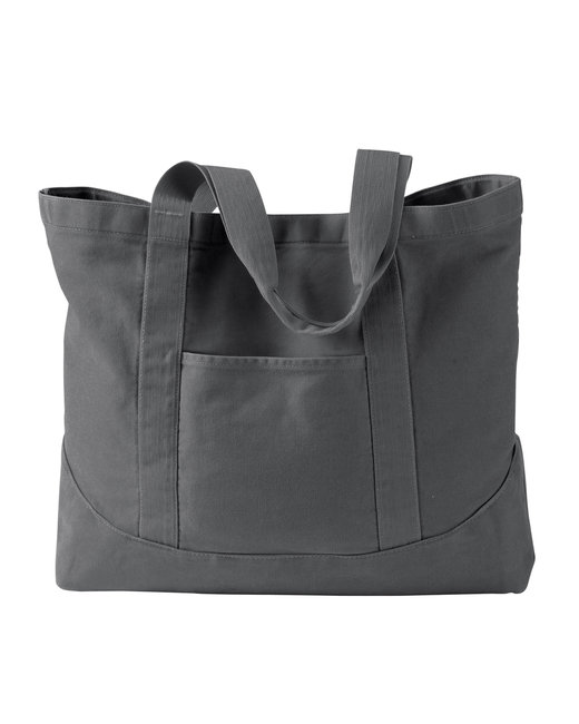 Authentic Pigment 14 oz. Pigment-Dyed Large Canvas Tote - Smoke