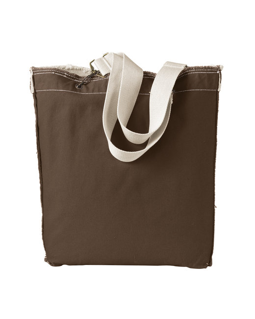 Authentic Pigment 14 oz. Direct-Dyed Raw-Edge Tote - Java