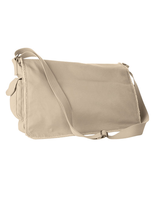 Authentic Pigment 14 oz. Pigment-Dyed Raw-Edge Messenger Bag - Putty