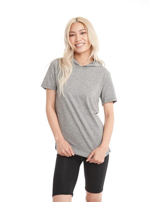 Next Level Unisex Mock Twist Short Sleeve Hoody T-Shirt - Heather Gray