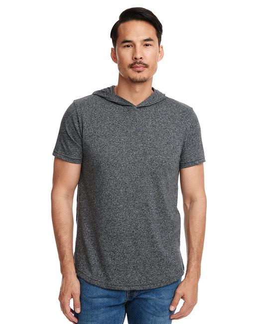 Next Level Unisex Mock Twist Short Sleeve Hoody T-Shirt - Black