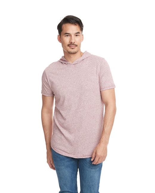 Next Level Unisex Mock Twist Short Sleeve Hoody T-Shirt - Tech Maroon