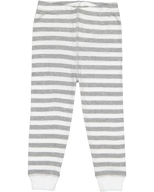 Rabbit Skins Toddler Baby Rib Pajama Pant - Hth Wht Str/ Wht