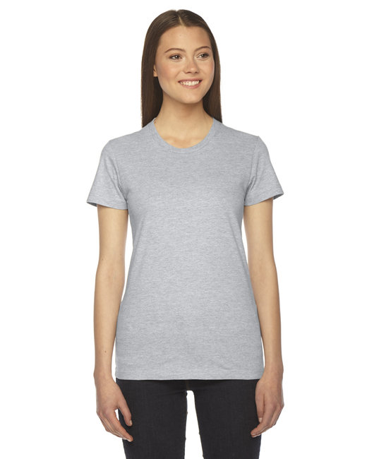 American Apparel Ladies' Fine Jersey USA Made Short-Sleeve T-Shirt - Heather Grey