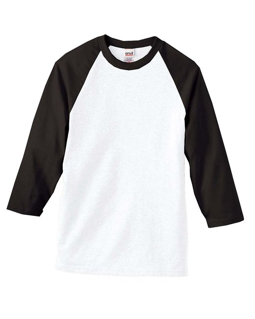 Anvil 2184 - Heavyweight Raglan 3/4-Sleeve T-Shirt - Black/White - XL at Sears.com