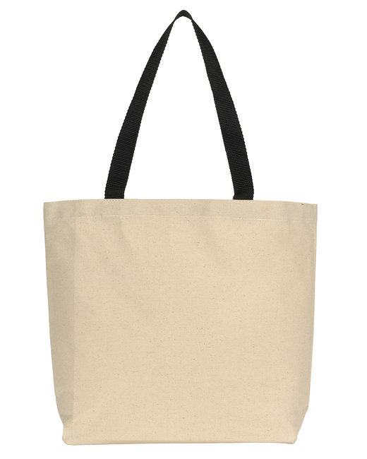 Gemline Colored Handle Tote - Natural/ Black