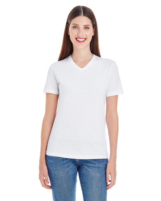American Apparel Ladies' Fine Jersey Short-Sleeve V-Neck - White