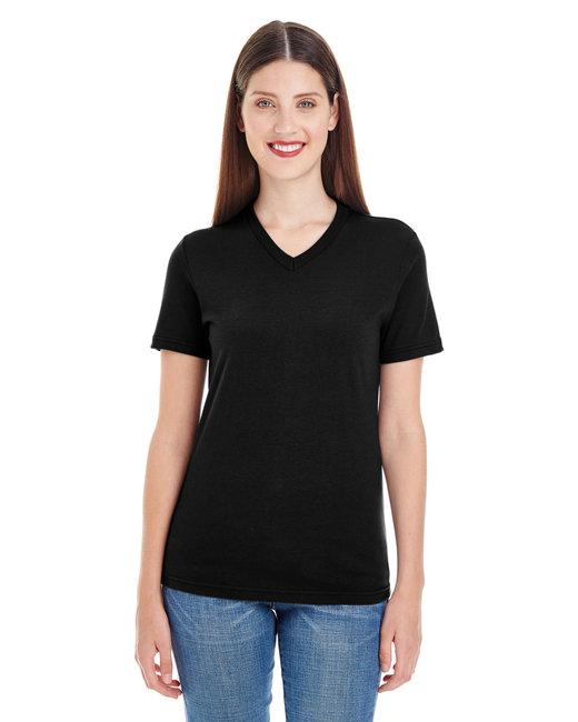 American Apparel Ladies' Fine Jersey Short-Sleeve V-Neck - Black