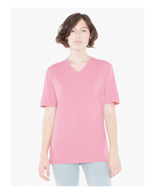 American Apparel Unisex Organic Fine Jersey Short-Sleeve Classic V-Neck - Lotus