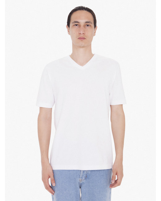 American Apparel Unisex FINE JERSEY SHORT SLEEVE CLASSIC V-NECK - White