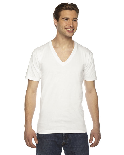 American Apparel Unisex USA Made Fine Jersey Short-Sleeve V-Neck T-Shirt - White