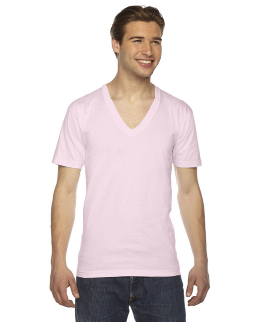 American Apparel Unisex USA Made Fine Jersey Short-Sleeve V-Neck T-Shirt - Light Pink
