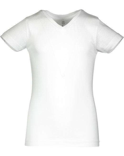 LAT Girls' V-Neck Fine Jersey T-Shirt - White