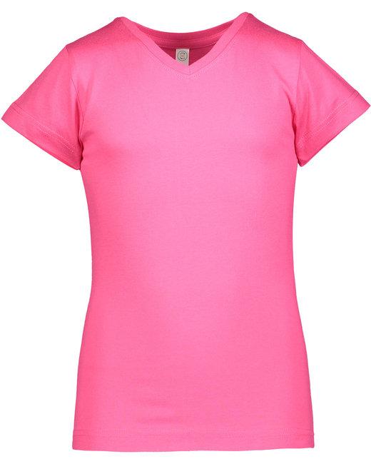 LAT Girls' V-Neck Fine Jersey T-Shirt - Hot Pink