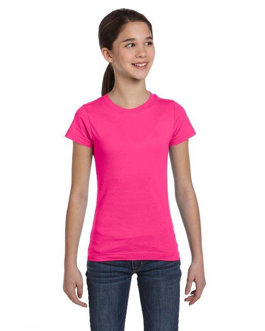 LAT Girls' Fine Jersey T-Shirt - Hot Pink
